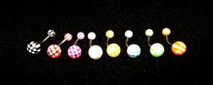 NOMBRIL Damier : noir, rouge, violet, blanc, jaune, bleu, vert, orange