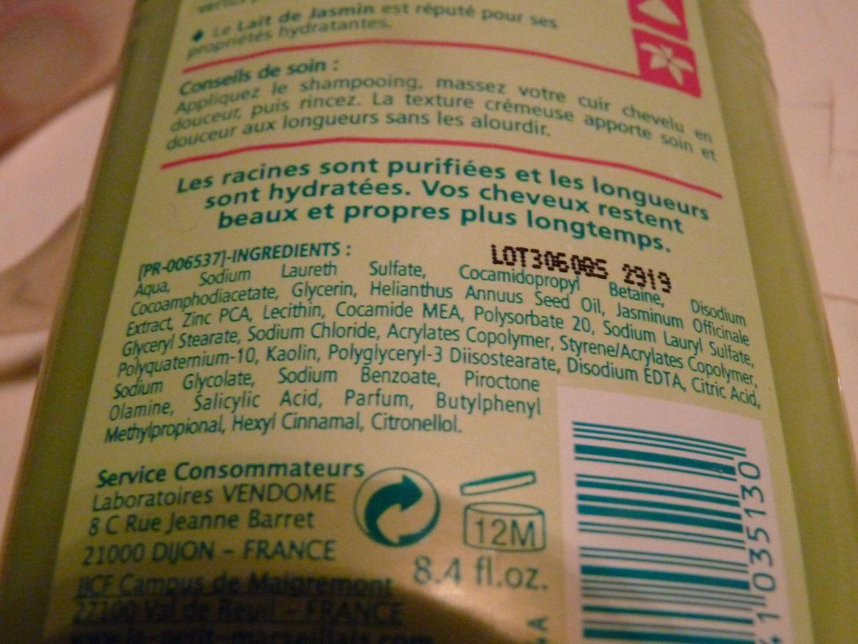 shampooing soin Petit Marseillais gras argile blanche jasmin