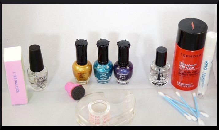 Le matériel utilisé pour ce gradient nail