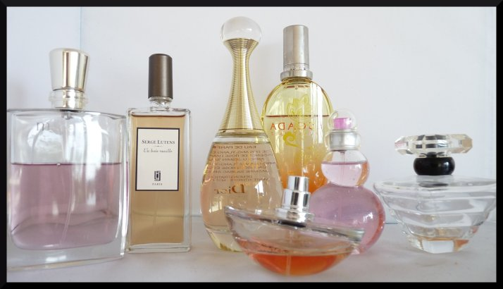 Miracle - Lancôme Un bois Vanille - Serge Lutens Taj Sunset - Escada Insolence - Guerlain Trésor - Lancôme Pink Tonic - Azzaro