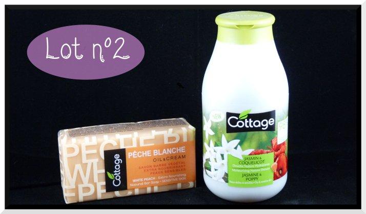 Lot n°2 : - Savon Barre  Cottage végétal à la pêche blanche - gel douche Cottage Jasmin & Coquelicot