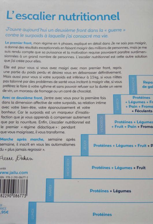Dukan livre Escalier Nutritionnel le deuxième front La 4ème de couverture