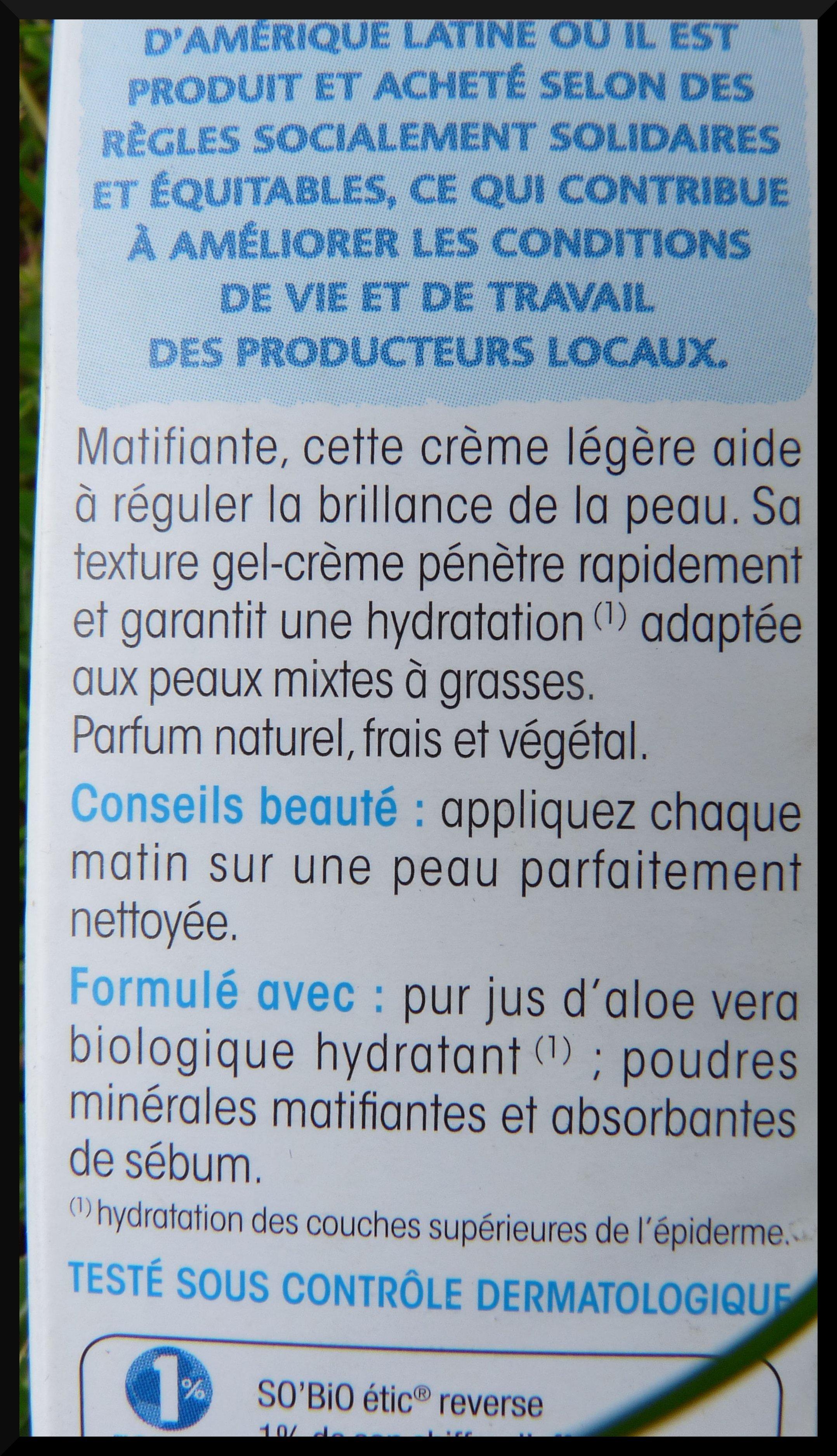 So'Bio Etic crème matifiante hydra aloe vera