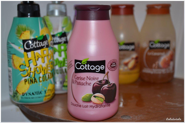 Cottage cerise noire pistache gel douche lait